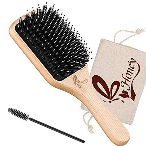 Hair Brush-Natural Boar Bristle Hair Brush With Detangling Pins, Best Paddle Brush for Women Men&Kids'Long Thick Fine Curly Dry Wet and Damaged Hair