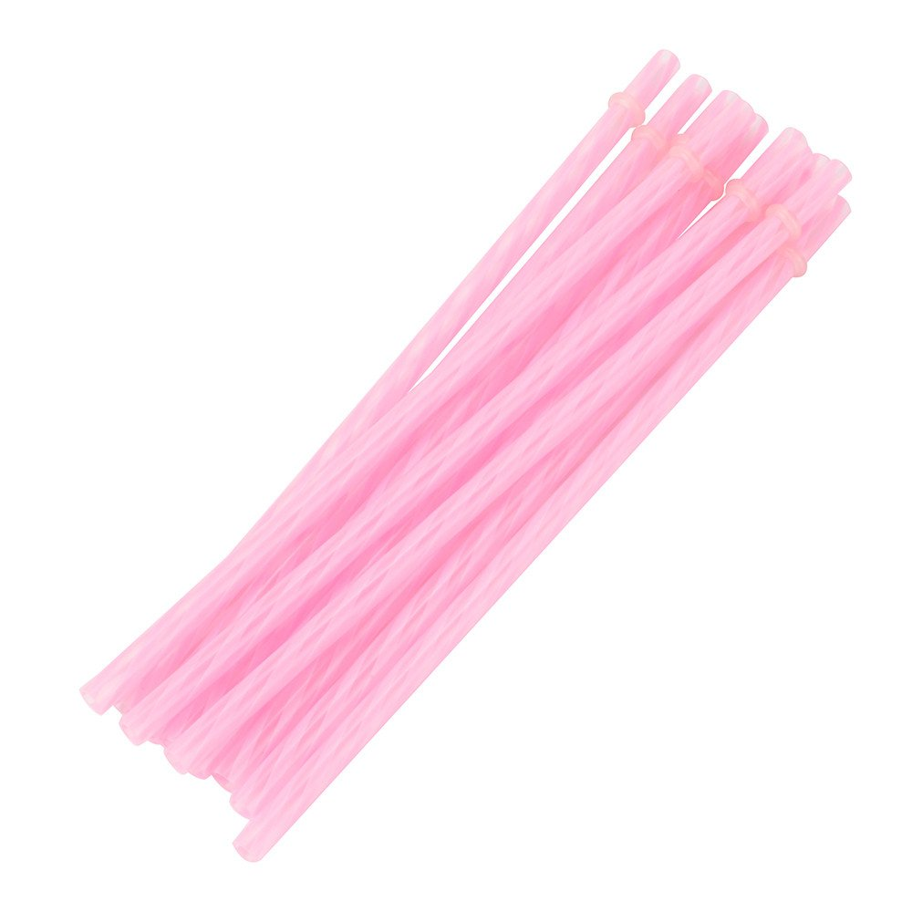 YIYEZI 10 Pcs Multicolor Reusable Hard Plastic Stripe Pattern Drinking Straws Wedding Ornament Party Decorations Catering Supplies (Pink)