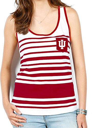 NCAA Indiana Hoosiers Women's Variegated Stripe Pocket Tank, Medium, White