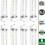 Hykolity 8' T8 T10 T12 36W LED Tube Light [80W Fluorescent Equivalent] 4000lm 5000K Daylight White Clear Lens Cover FA8 Single Pin Dual-End Powered Fluorescent Tube Retrofit Replacement-Pack of 8