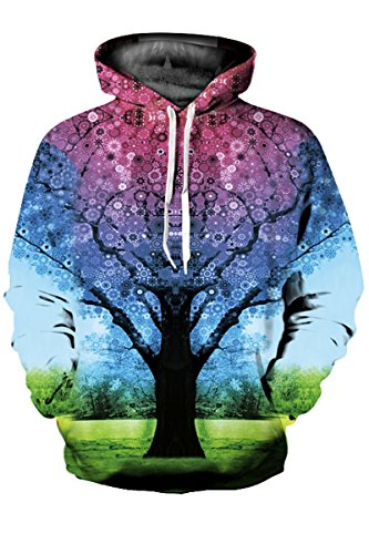 Haloon Unisex Simulation Printed Galaxy Pocket Drawstring Hooded Sweatshirt Tree of Life XL