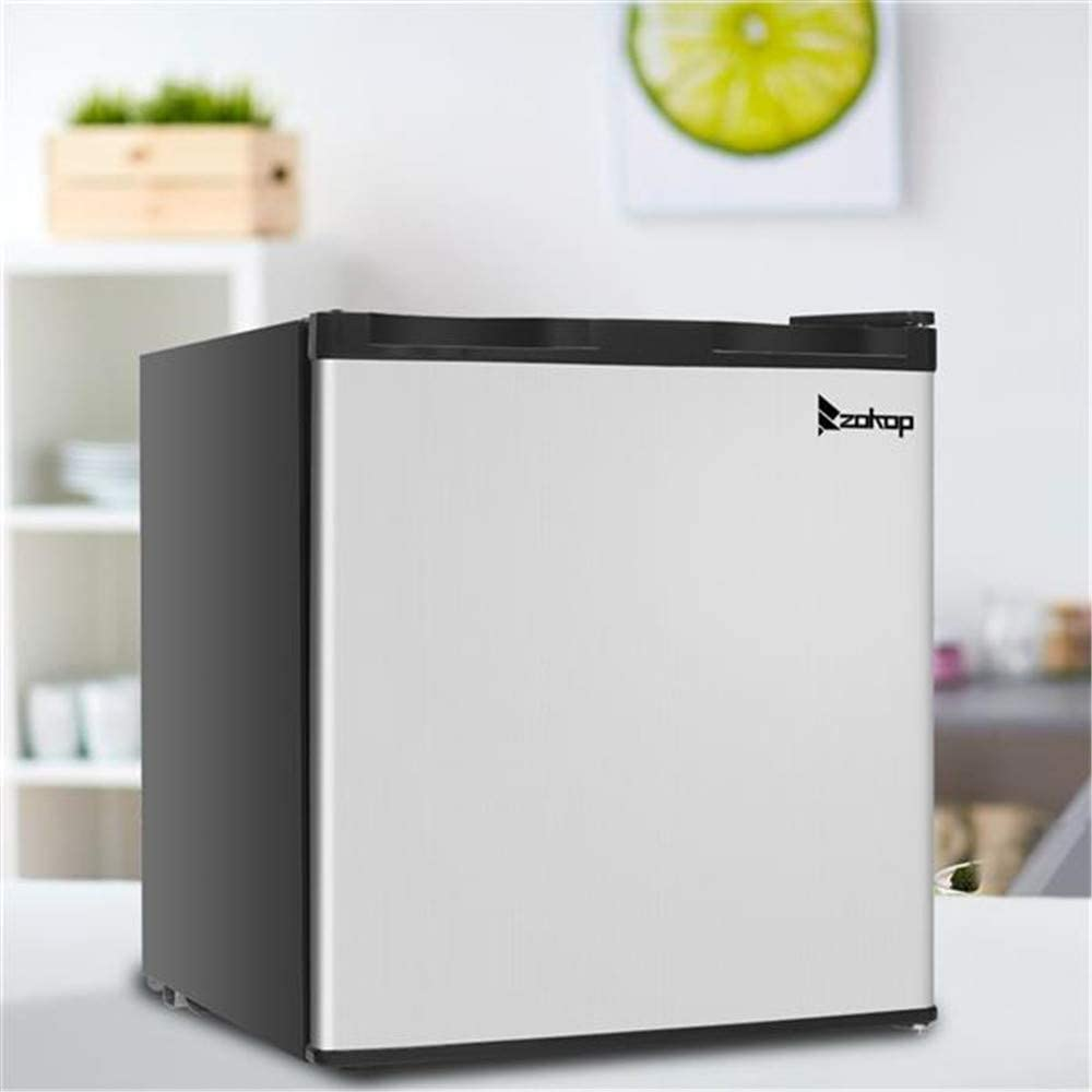 Xiaolizi American Standard BD-40 AC115V / 60Hz 31.1L / 1.1CU.FT Single Door Vertical Freezer Stainless Steel Panel + Black for Home Dormitory Office.