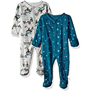 Rosie Pope Baby Boys Coveralls 2 Pack, Navy and Gray Camping Theme, 0-3 Months