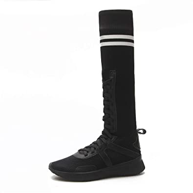 594d6b6409b Women s Thigh High Stretch Boots Heel Knee High Boots Socks Shoes(Lable  36 5.5