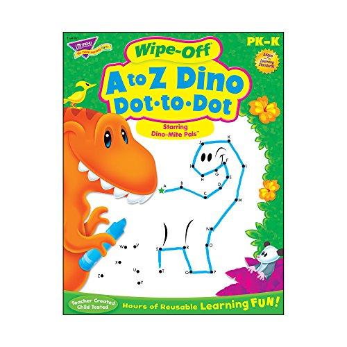 Dino Dots - Trend Enterprises A to Z Dino Dot to Dot Dino Mite Pals Wipe Off Book Novelty