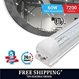 T8 8 Foot V Shape LED Tube 60w 7200 Lumens Integrated 6500k Clear 20pcs