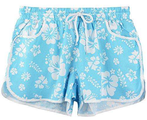 Drawstring Elastic Polyester Waistband (Womens Summer Causal Sports Beach Short Pants Drawstring Elastic Waistband Floral Print Boardshort Blue Floral XL)