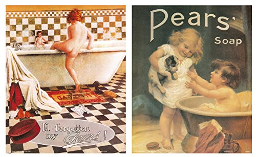 Impact Posters Gallery Vintage Forgotten My Pears Soap Ad Advertisement Bathroom Picture 16x20 Two Set Wall Decor Art Print Poster