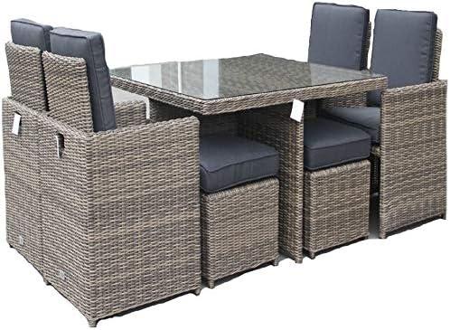 LuxuryGarden – Mesa de jardín con sillas de ratán cuadrada Set de exterior piscina 8 plazas Andresa: Amazon.es: Hogar