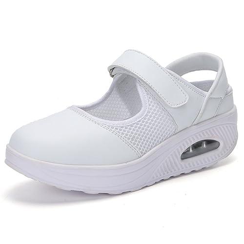 Hishoes Sandalias para Mujer Malla Merceditas Plataforma Ligero Zapatillas Sneaker Mary Jane Casual Zapatos de Deporte Mocasines Negros Verano: Amazon.es: ...