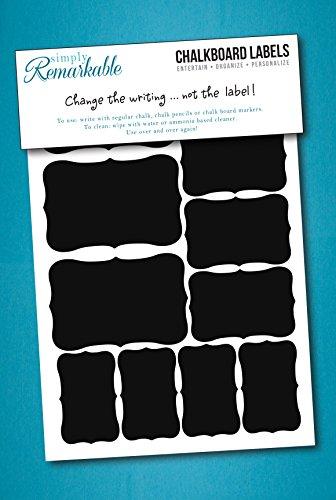22 Fancy Rectangle Chalkboard Sticker Variety Pack - Chalkboard Labels in 4 Sizes (1, DESIGN 1)