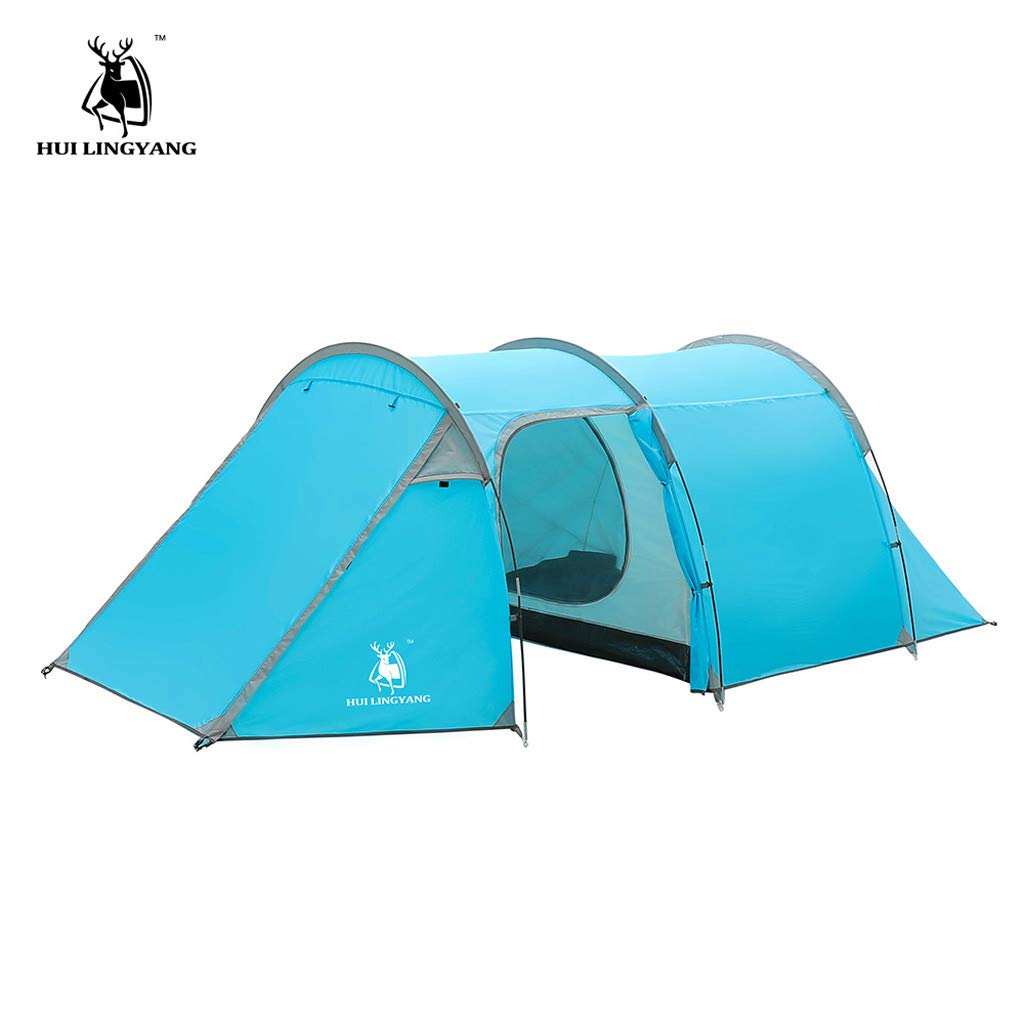 HuiLingYang Ultralight Automatic Instant Portable Camping tent - Suitable for Upto 4 People - Double Layer Water Resistant & UV Protection Tunnel Tent - with Carrying Bag (Blue)