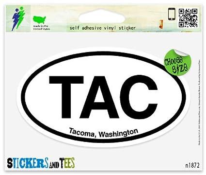 "TAC Tacoma Washington Oval car window bumper sticker decal 5/"" x 3/"""