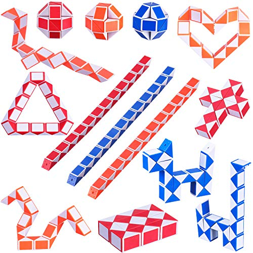Boao 24 Pack 24 Blocks Mini Snake Cubes Magic Speed Cubes Mini Snakes Twisty Puzzle Toys for Children's Intelligence Development Party Bag Fillers Party Favour, Random Colors