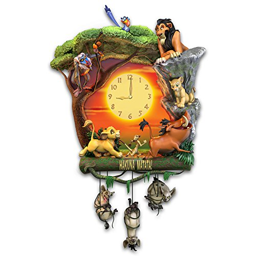 The Bradford Exchange Disney The Lion King Hakuna Matata Wall Clock with Music and Light Up Clock Face (Day Exchange)