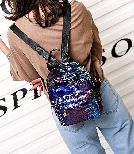 1605bfca4492 Liliam Women Shiny Sequins Backpack Daypack Shoulder Travel Party School  Bag Satchel Totes(Blue)