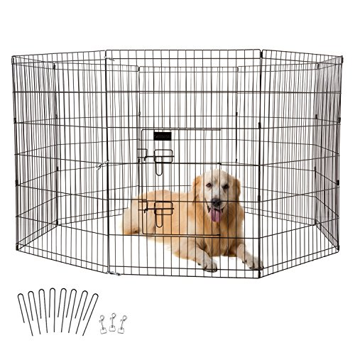 Ollieroo Dog Playpen Exercise Pen Cat Fence Pet Outdoor Indoor Cage 8 Panel Black E-coat Small (24