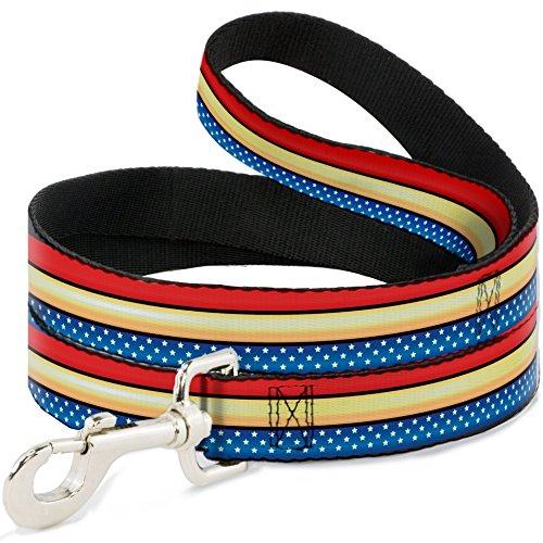Buckle Down Dog Leash Wonder Woman Stripe Stars Red Gold Blue White 6 Feet Long 1.0 Inch ()