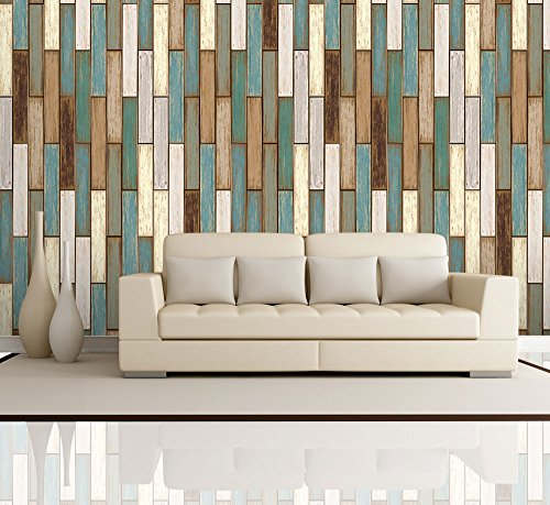 Wall26 vertical retro earthy colored wood textured for Removable wallpaper wood paneling