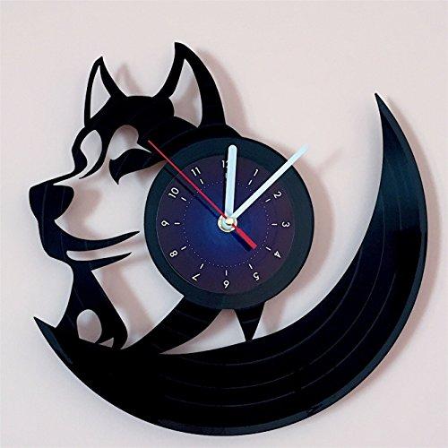 Husky Vinyl Record Wall Clock - Kids Room Wall Decor - Gift Ideas for Kids, Girls, Boys, Teens - Cartoon Unique Art Design
