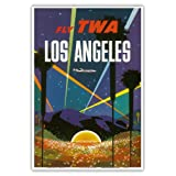 Los Angeles - Trans World Airlines Fly TWA - Hollywood Bowl - Vintage Airline Travel Poster by David Klein c.1958 - Master Art Print - 13in x 19in