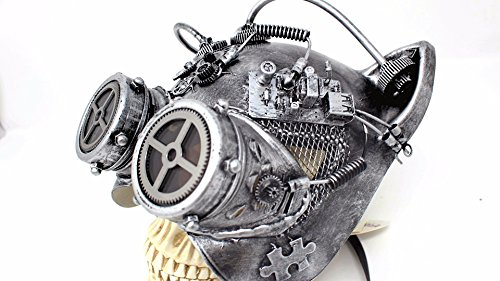 Steampunk Cat Mask Mechanical Half Cat Woman Skull Face Mask Gears and Goggle Costume Cosplay Halloween (Silver)