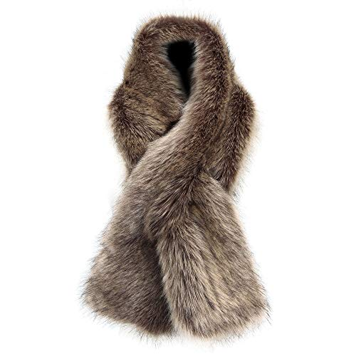 Fur Neck Wrap - Caracilia Women Winter Scarf Wrap Faux Fur Collar Shawl Shrug Brown 120CA97