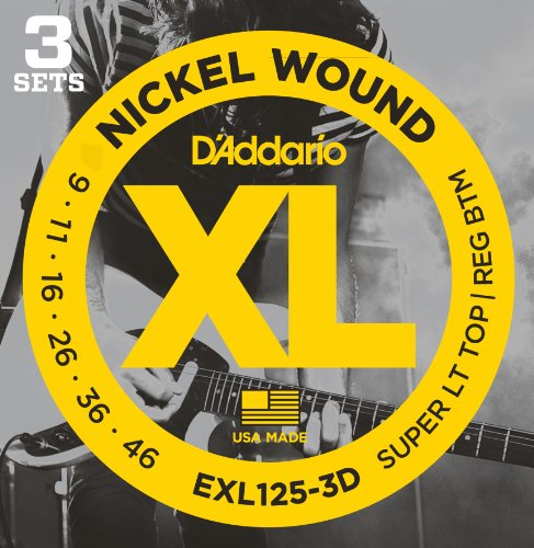 D'Addario EXL125-3D Nickel Wound Electric Guitar Strings, Super Light Top/Regular Bottom, 9-46, 3 Sets (Player Audio Solid State)
