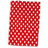 3D Rose White Polka Dots on Red-Classic Retro 50s Style Cute Spots Pattern twl_56687_1 Towel, 15'' x 22''