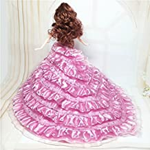"Lanlan Gorgeous Multi-layer Sequined Bridal Wedding Dress Party Dress Princess Gown for 12"" Barbie Doll Pink"