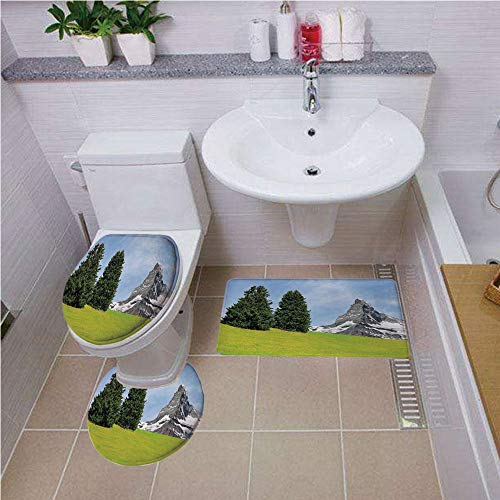 Bath mat Set Round-Shaped Toilet Mat Area Rug Toilet Lid Covers 3PCS,Farmhouse Decor,View of Mountain Matterhorn in Peaceful Summer with Sun Rays Meadow Print,Green Blue,Bath mat Set Round-Shaped TOI -