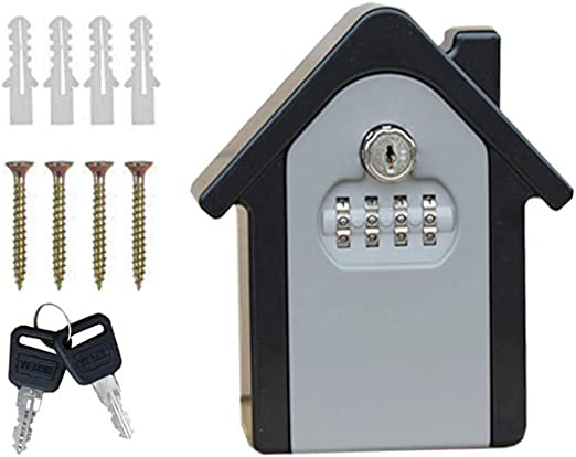 4-Digit Combination /& Key Safe Vault NUZAMAS Realtor Key Lock Box Safe Lockbox 2 in 1 Portable Outdoor Store a Key Share and Secure Keys Wall Mounted