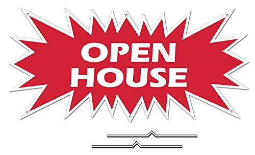 """OPEN HOUSE Starburst Sign Rider - Red Real Estate Corrugated Sign Kit INCLUDES 2 - 8"""" D-Wire Stakes"""