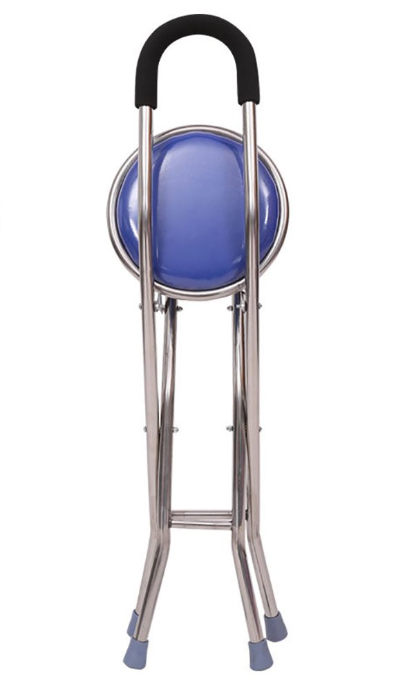 MYT Walking Stick Four Corner Base Seat Stick Stainless Steel 2 In 1 Healthcare Disability Medical Aid Folding Seat Cane,Blue by MYT