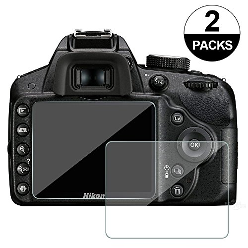 Awinner Glass for Nikon D3200 D3400 D3300 D3100, Camera Screen Protector Anti-scratch Tempered Glas (2-Pack)