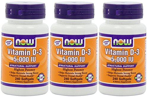 NOW Foods Vitamin D3 5000 Iu, 240 Softgels (3 Pack) by NOW Foods