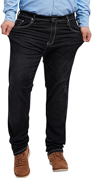 Jeans for Men Relaxed Fit,Loose Fit Straight Leg Stretch Denim Jeans Pants Plus Size