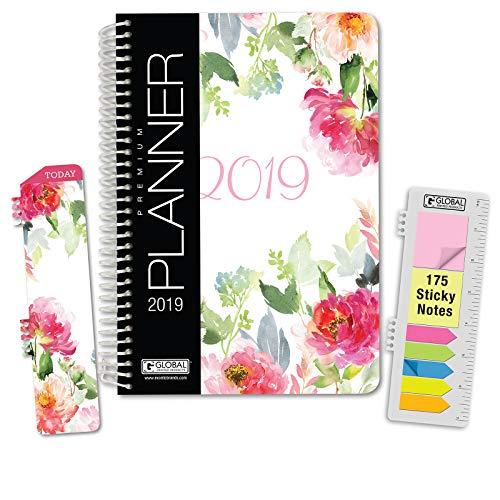 HARDCOVER Calendar Year 2019 Planner: (November 2018 Through December 2019) 5.5x8 Daily Weekly Monthly Planner Yearly Agenda. Bonus Bookmark, Pocket Folder and Sticky Note Set (Elegant Floral)