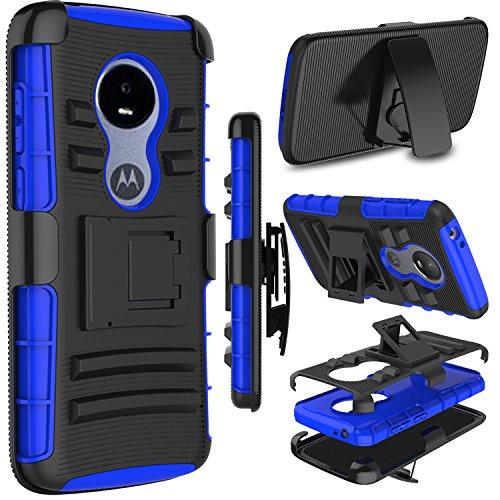 Moto E5 Play Case, Moto E5 Cruise Case, Zenic Heavy Duty Shockproof Full-Body Protective Hybrid Case Cover Swivel Belt Clip Kickstand for Motorola Moto E5 Play (Blue)