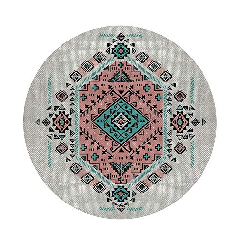 iPrint Cotton Linen Round Tablecloth,Tribal Decor,Mexican Native American Ethnic Symmetrical Four Corner Art Pattern,Teal and Coral Pink,Dining Room Kitchen Table Cloth Cover ()