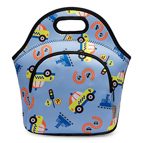 Lokass Kids Lunch Bag Neoprene Lunch Tote Bag Water-resistant Thermal Lunch Box for Boys Girls (Light Blue Car Pattern)