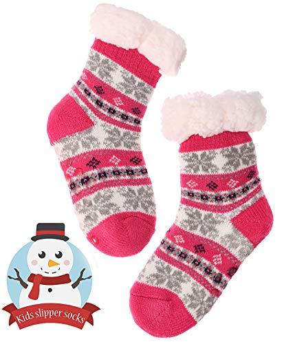 (Boys Girls Slipper Socks Fuzzy Soft Warm Thick Heavy Fleece lined Christmas Stockings For Child Kid Toddler Winter Socks (For 9-12 Y Kid, Rosered) )
