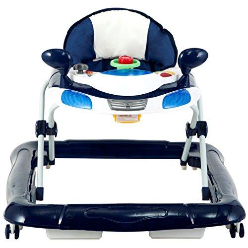 Lauflernhilfe Racer mit Spielcenter (5 Melodien) Gehfrei Gehhilfe Baby Walker in 3 verschiedenen Farben (Blau / Weiß)