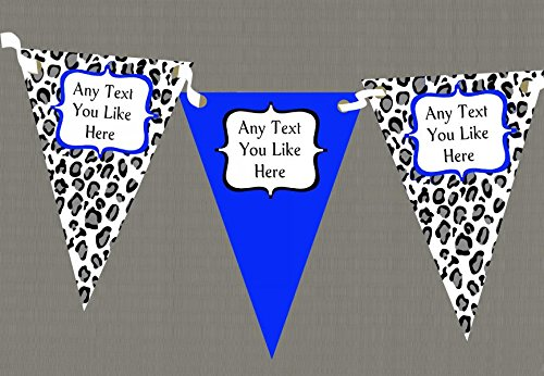 Black White & Royal Blue Animal Print Personalised Birthday Party Bunting by The Card Zoo