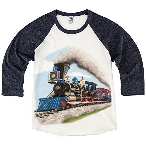Apparel Train (Shirts That Go Little Boys' Steam Train Raglan T-Shirt 10 Navy Sleeves)