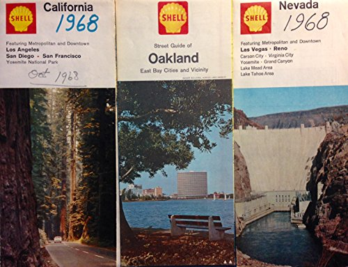 Vintage Original 1960s Shell Oil Road Map Lot of Nevada, California, and Oakland East Bay Cities & Vicinity Street - Bay Street California
