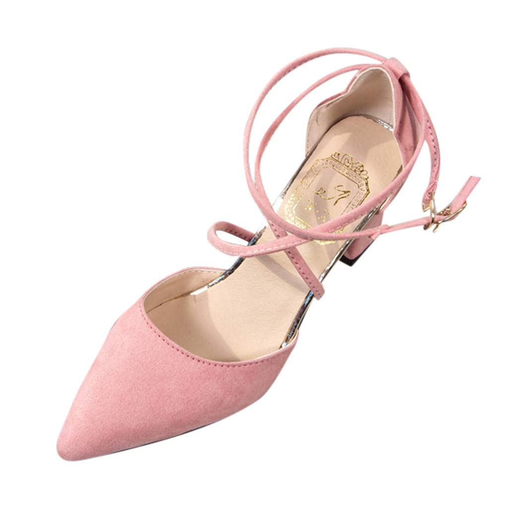 ZOMUSAR 2019 Women's Fashion Casual Pointed Toe Square Heel Wedding Shoes High Heel Sandals Pink