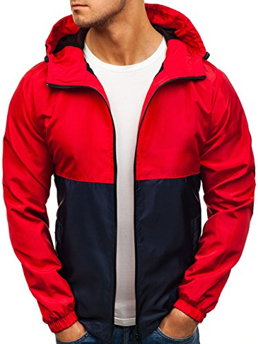 Bomber Men's Mix Casual navy 4D4 Hood Jacket Sport Ribbed BOLF Blue Plain Red Zip Quilted hs07 Transitional Basic RdqxAwxXn