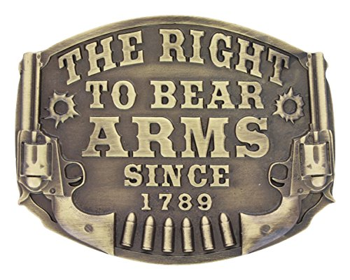 Bear Arms Belt Buckle (Montana Silversmiths The Right to Bear Arms With Pistol Engraving Attitude Belt Buckle Brass)