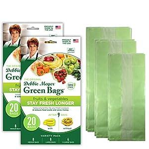 Debbie Meyer GreenBags 40-Pack (16M, 16L, 8XL) – Keeps Fruits, Vegetables, and Cut Flowers, Fresh Longer, Reusable, BPA…